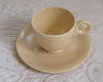 Fiesta Cup and Saucer . Ivory Fiesta Cup and Plate . ivory fiesta . homer and laughlin . ring handle fiesta . fiesta ware