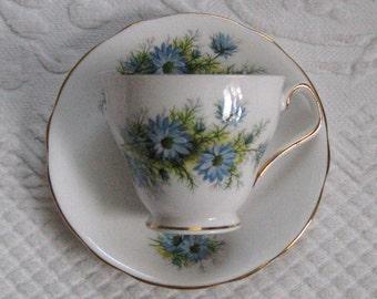 Blue Flower Tea cup . Bone China Tea Cup by Royal Windsor . tea cup