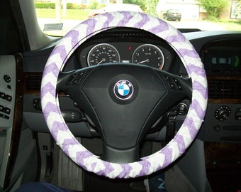 Lavender and White Chevron Steering Wheel Cover