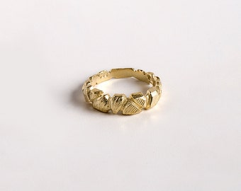 SALE 50% OFF, Gold Faceted Ring, Gold Rocks Ring, Rustic Gold Ring, Organic Gold Ring, Gold Band Ring, SIZE 5.75 6.25 7