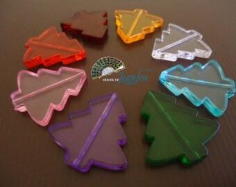 Transparent CHRISTMAS TREE beads, acrylic beads (8x)