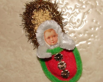 Chenille Snow Baby Slipper Christmas Ornament