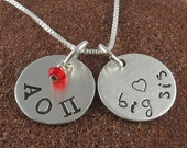 Alpha Omicron Pi Sorority Necklace-Sterling Silver or 14K Gold Filled Big Sis Lil Sis Greek Letters-Alpha Omicron Pi Jewelry-OLP