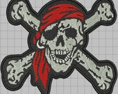 Pirate Patch Digitized Embroidery Design
