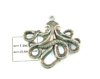 Large Octopus 57mm x 55mm Antiqued Silver Pendant, Nautical, Steampunk, Sold Individually, 1020-17