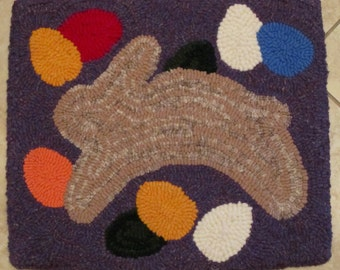 EASTER BUNNY and EGGS Primitive Hooked Rug Recycled 100% Wool from Quilts by Elena