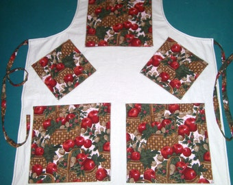 Plus Sized Apron - Apples and Pine Cones - Extra Large 2 Pocket Apron - Apple Apron - Pine Cone Apron - Large Apron - Chefs Apron