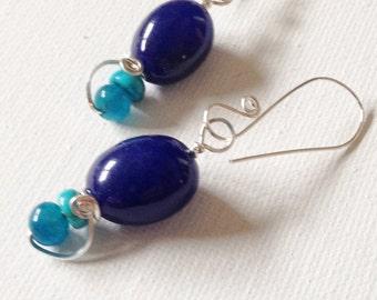Sterling Silver Gemstone Earrings Wire Wrapped in Sterling Silver