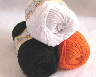 black white orange cotton yarn, Creme de la Creme yarn, worsted weight, Trick or Treat 100% cotton yarn, HALLOWEEN  combination pack