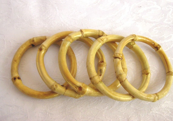 2 Bamboo Cabone Rings Circular Rings Set Of 5 50mm By
