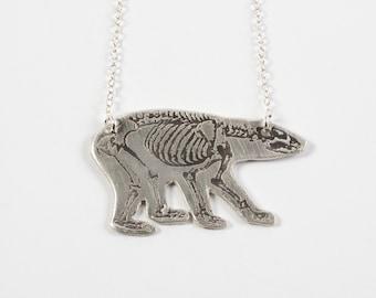 Bear Necklace - Mama Bear - Bear Skeleton - Animal Necklace - Silver Polar Bear - California Necklace - California Bear - Bear Jewelry