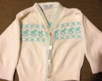 Vintage knitted BABY rocking horses SWEATER
