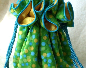 Jewelry Pouch, travel jewelry bag  in spring green