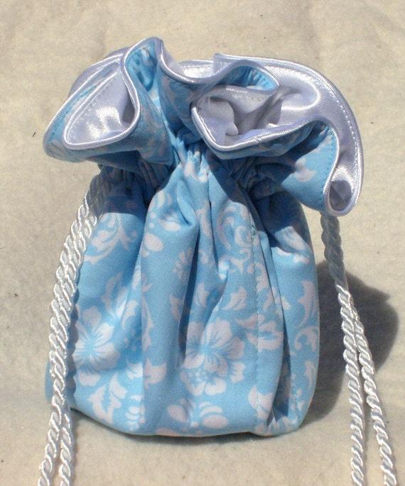 light blue damask jewelry pouch jewelry travel organizer