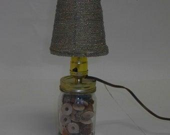 Wooden Spool Mason Jar Beaded Sewing Lamp