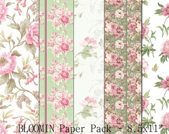 INSTANT DOWNLOAD - Bloomin Paper Pack - 5 - 8.5x11 inch Sheets - Digital Download - Crafts Scrapbook Supplies
