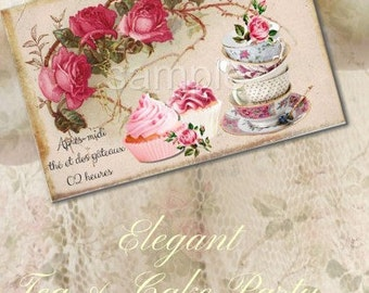 Instant  Download - Tea Party -  Collage Sheet - Printable Download - Gift Tags - Scrapbook