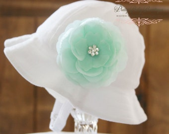 Baby Girl Sun Hat - Easter Bonnet - Bucket Hat - (Removeable) Mint Aqua Flower Clip With White Sun Hat- Fits (Your Pick Size)