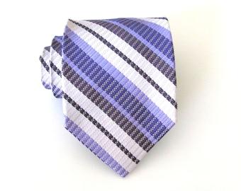 Mens Ties Necktie for Men Purple Stripe Silk Tie