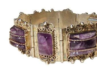 Vintage Taxco Bracelet Sterling Amethyst Chunky Mexican Gemstone