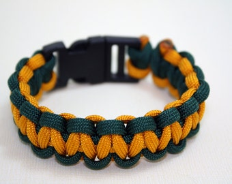 Survival Paracord Bracelet - Green and Gold with Side Release Buckle - Go Packers or Favorite Sports Team