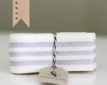 Ivory and Gray Stripe Woven Ribbon