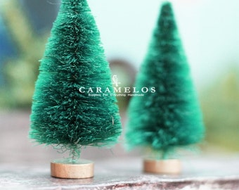 "3 Petite Bottle Brush Sisal Trees 3"" Christmas Holiday DIY"