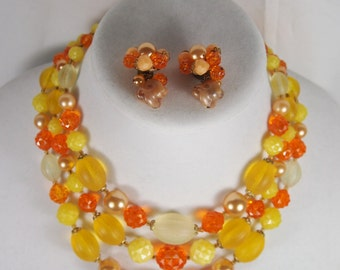 Fall Color Plastic Bead West Germany Choker Necklace and Earring Set Vintage 50s Jewelry