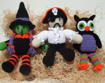 CROCHET PATTERN - CV110 Halloween Toys - Pirate - Owl - Witch - Amigurami - PDF Download