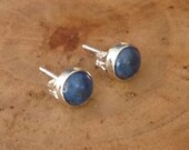 Denim Lapis Sterling Silver Studs Post Earrings 6mm Ready to Ship