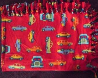 Cars and Trucks Fleece NoSew Blanket