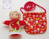 Waldorf inspired Pocket Doll with Bag, all natural