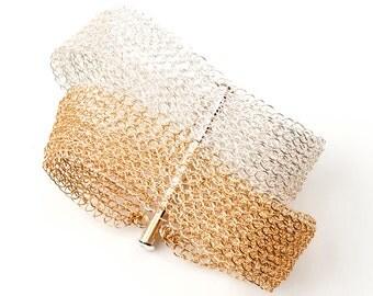 Gold and Silver Layered bracelet , Wire Crochet cuff bracelet , multi strand bracelet , wedding bracelet , bridal jewelry lace bracelet