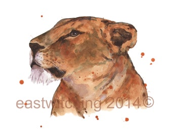 LION Print,  lion painting, watercolor lion print