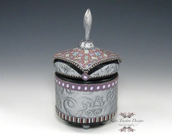 Polymer Clay Canister Pot, Metallic Silver, Purple, Black