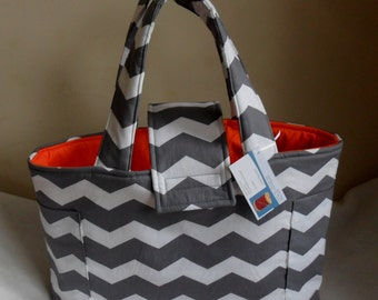 Large Gray Chevron and Orange Diaper Bag Tote