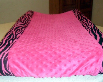 Black and Hot Pink Zebra and Deep Hot Pink Minky Dot Changing Pad Cover