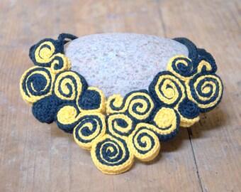 Yellow black bib necklace freeform crochet collar Valentine gift for her handmade Birthday gift for her