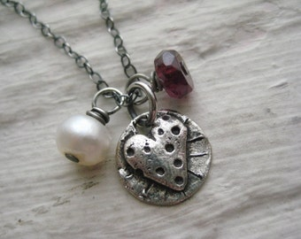 So Much Love Necklace- Sterling Silver, Charm, Heart, Garnet, Freshwater Pearl, Gift, Oxidized, Rustic