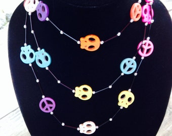 60 Inches of Day of the Dead Peace Signs and Skulls Wrap Necklace-Bracelet