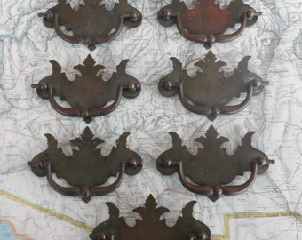 SALE! 7 vintage distressed metal and brass pull handles