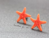 Miniature Starfish Post Earrings / Studs - Orange - Tropical Island