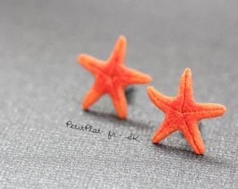 Miniature Starfish Post Earrings / Studs - Orange - Tropical Island