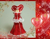 Valentines dress on mannequin - 12th scale miniature fashion by CWPoppets