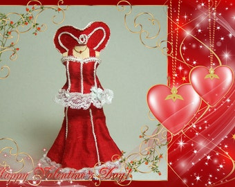 SALE !!! Sexy red heart dress on mannequin - 12th scale miniature fashion by CWPoppets