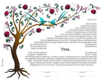 Tree of Life Ketubah / Wedding Vows Artwork (Left orientation) - PRINT