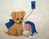 Vintage linen kitchen towel with puffy applique dog  toaster
