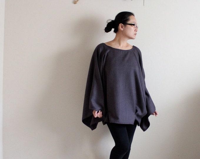 ready to wear over sized purple herringbone wool kimono wide sleeve top with folds