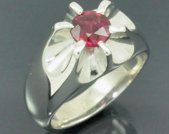 2ct. Ruby in Sterling Silver Belcher Style Ring