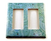 Double Rocker Light Switch Cover  Wall Decor Switch Plate Switchplate in  Teal Paisley  (219DR)